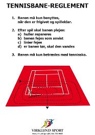 Skilt med tennisreglement